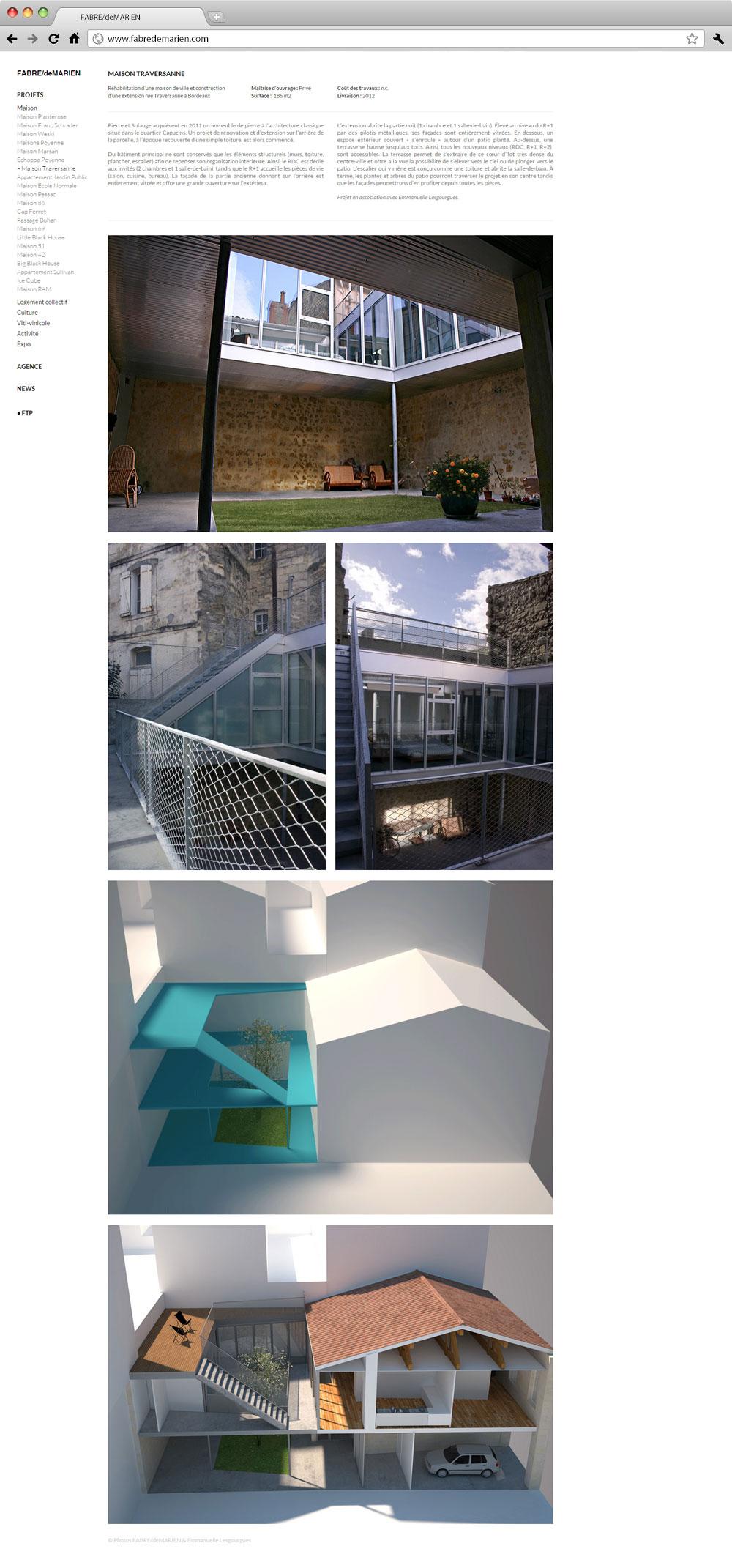 Fabre de Marien architectes site internet studio milk